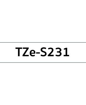 เทปพิมพ์ฉลาก Brother TZE-S231 ชนิดเคลือบพลาสติก ติดแน่นพิเศษ